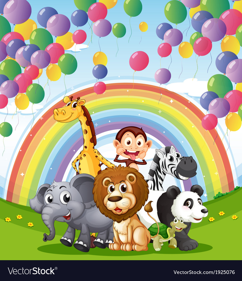 Animals below the floating balloons and rainbow vector | Price: 3 Credit (USD $3)