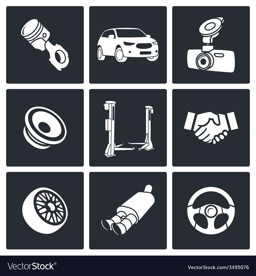 Auto service icon set vector | Price: 1 Credit (USD $1)
