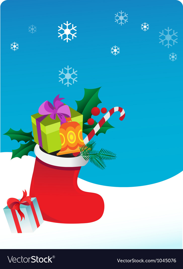 Christmas background with sock and gifts vector | Price: 1 Credit (USD $1)