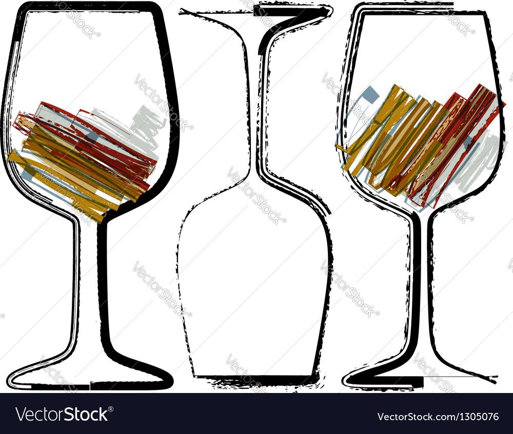Grunge glasses of wine vector   Price: 1 Credit (USD $1)