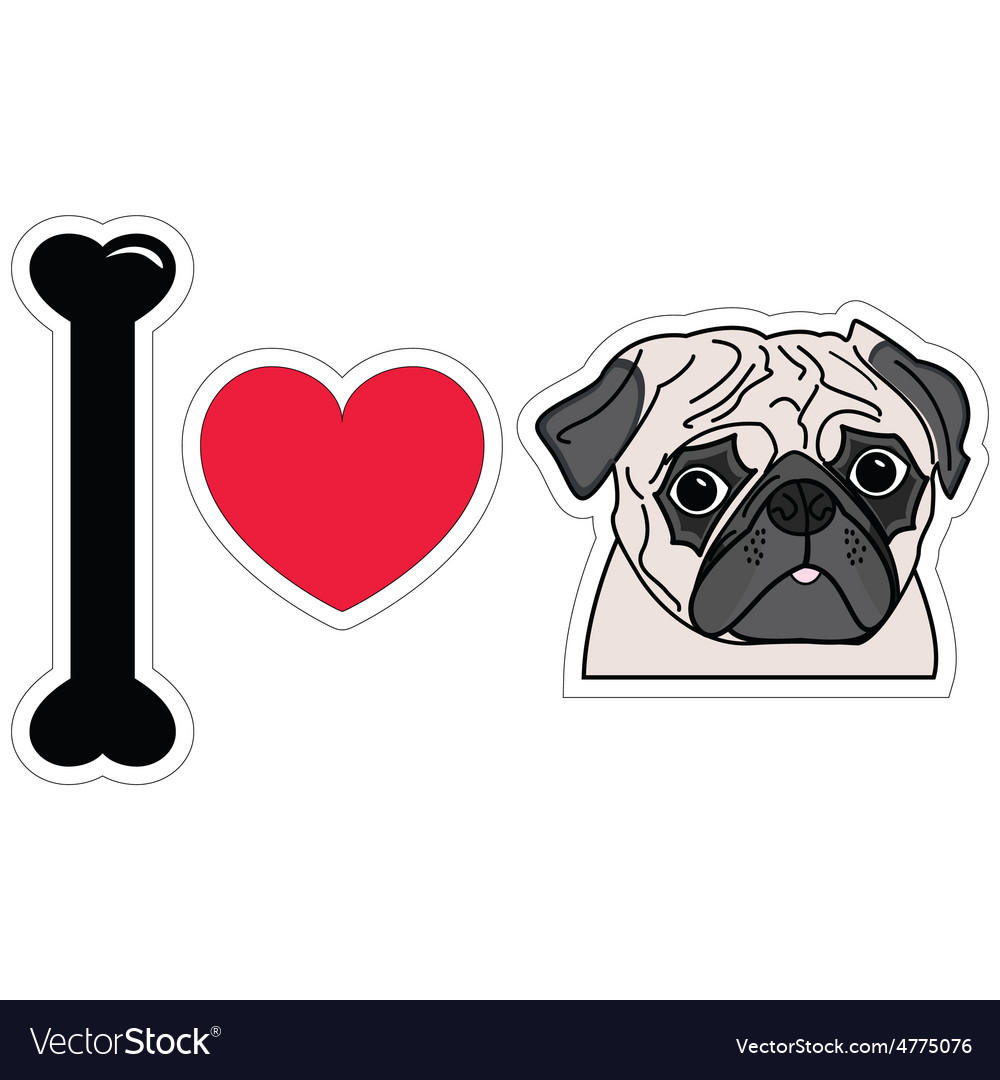 I love pugs vector | Price: 1 Credit (USD $1)