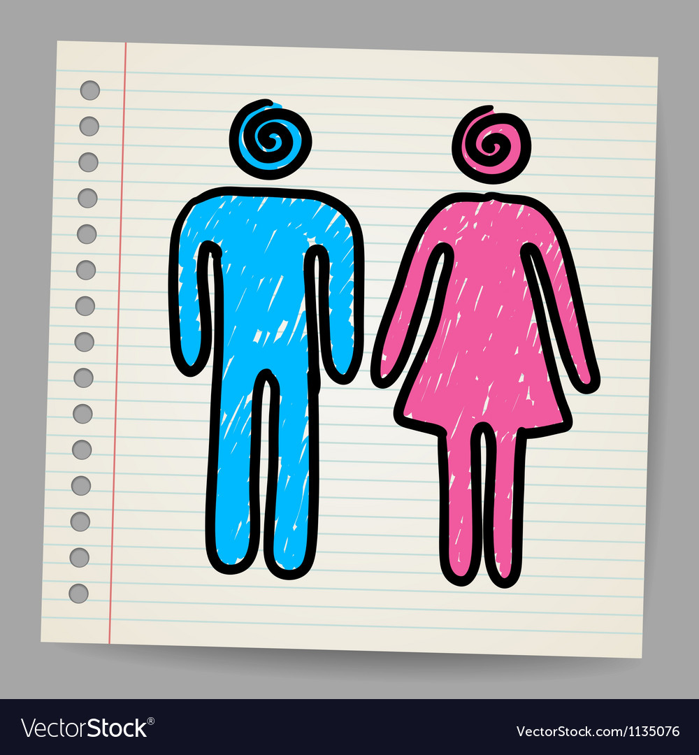 Male female doodle signs vector | Price: 1 Credit (USD $1)