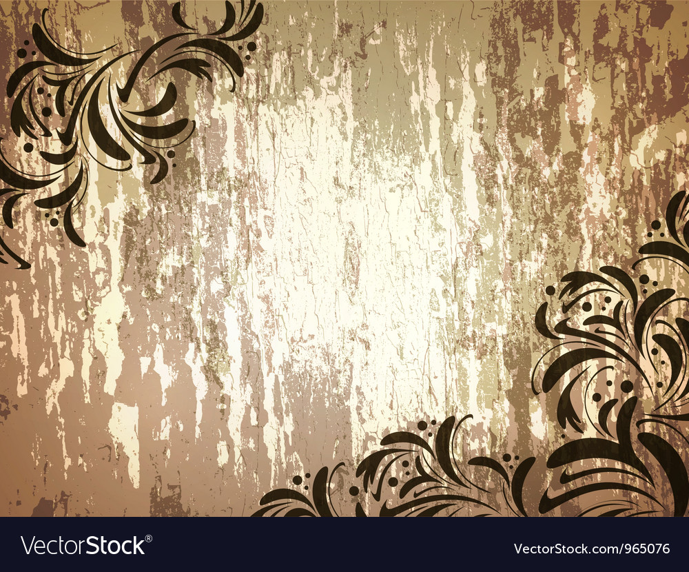Wooden background with floral frame vector | Price: 1 Credit (USD $1)