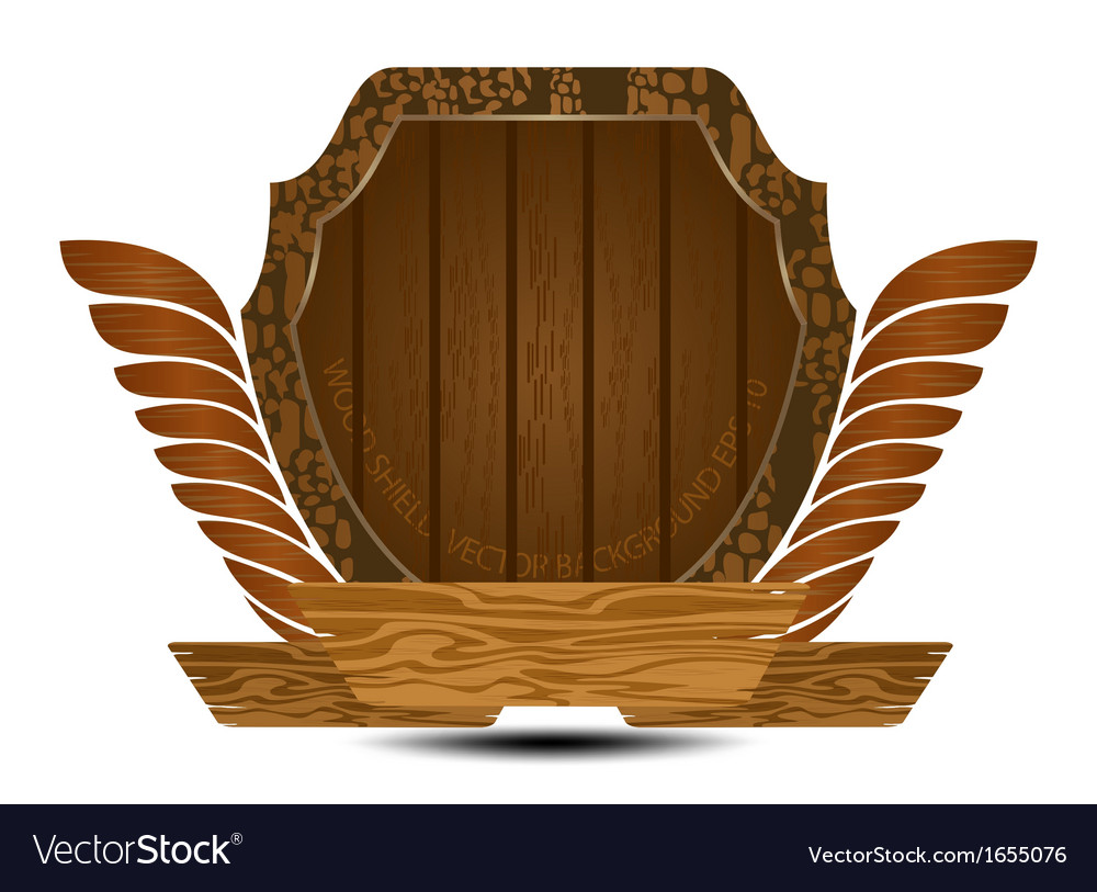 Wooden shield on a white background vector | Price: 1 Credit (USD $1)