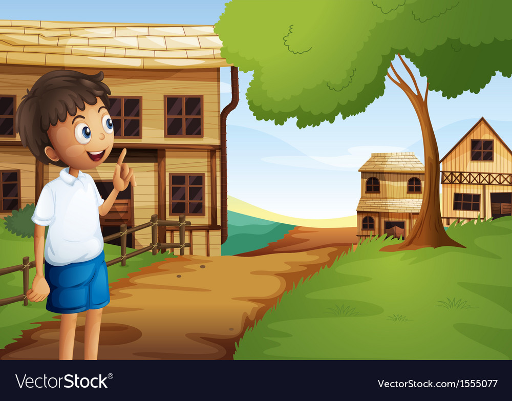 A boy at the pathway in the neighborhood vector   Price: 1 Credit (USD $1)
