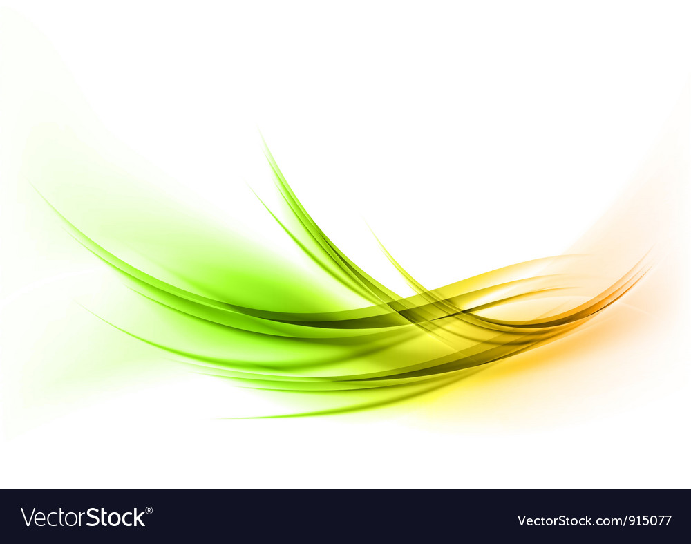 Abstract smoke on white curves gree orange vector | Price: 1 Credit (USD $1)