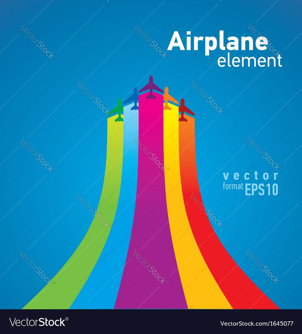 Airplane colored background takeoff vector | Price: 1 Credit (USD $1)