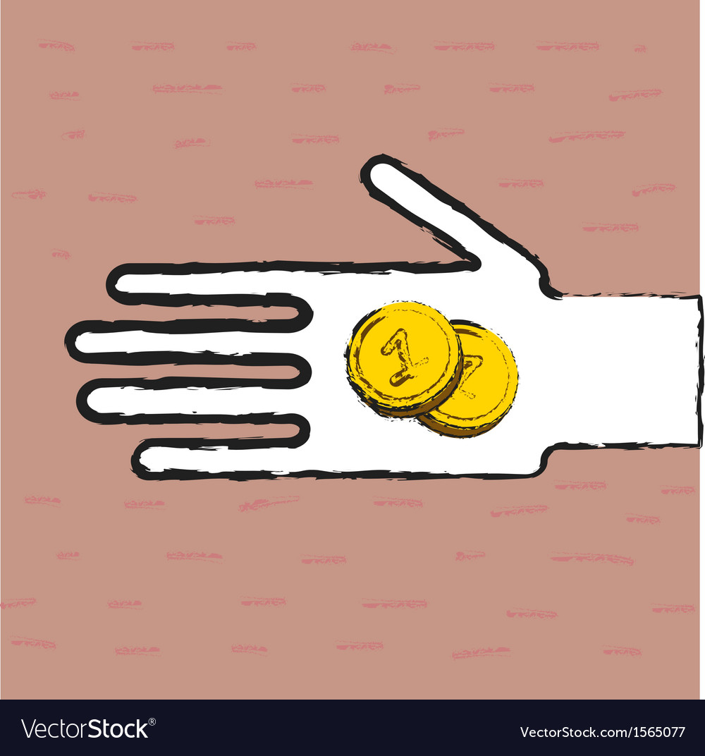 Beggar hand with coins vector | Price: 1 Credit (USD $1)