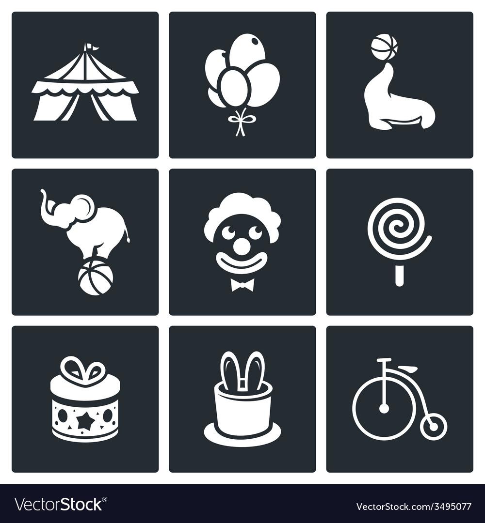 Circus icons set vector   Price: 1 Credit (USD $1)