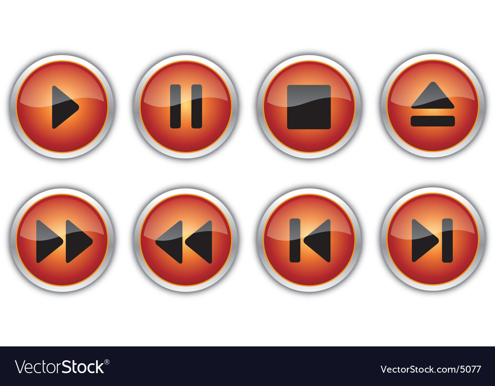 Control navigation button icons vector | Price: 1 Credit (USD $1)