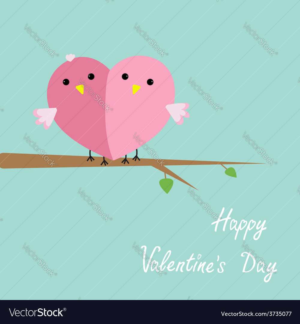 Couple bird cartoon cute nature blue pink vector | Price: 1 Credit (USD $1)