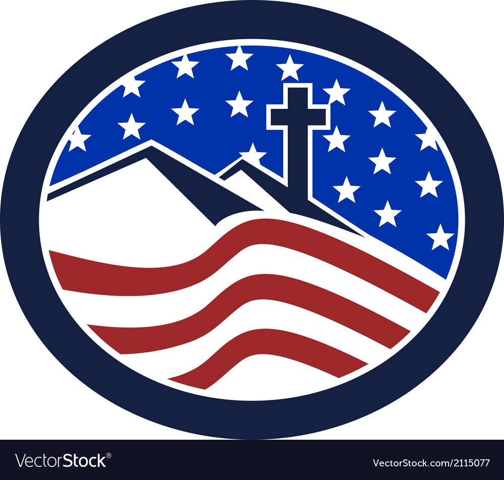 Cross on hill american flag circle vector | Price: 1 Credit (USD $1)