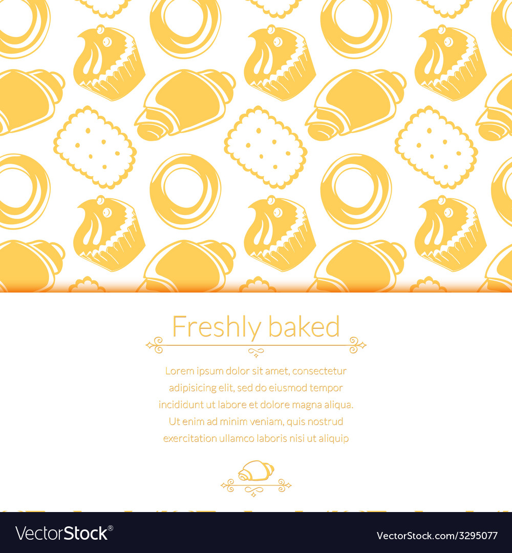 Delicious pastries in doodle style with place for vector | Price: 1 Credit (USD $1)