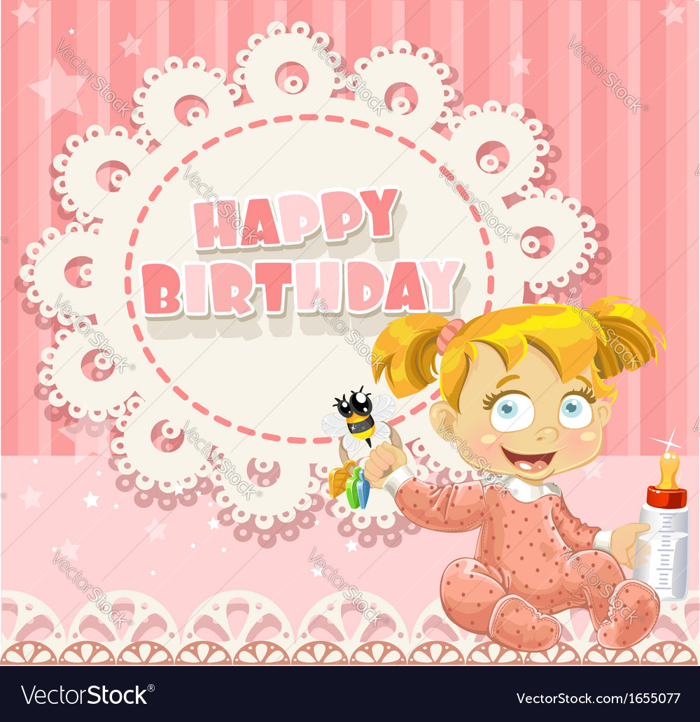 Happy birthday my little princess - baby girl vector | Price: 3 Credit (USD $3)
