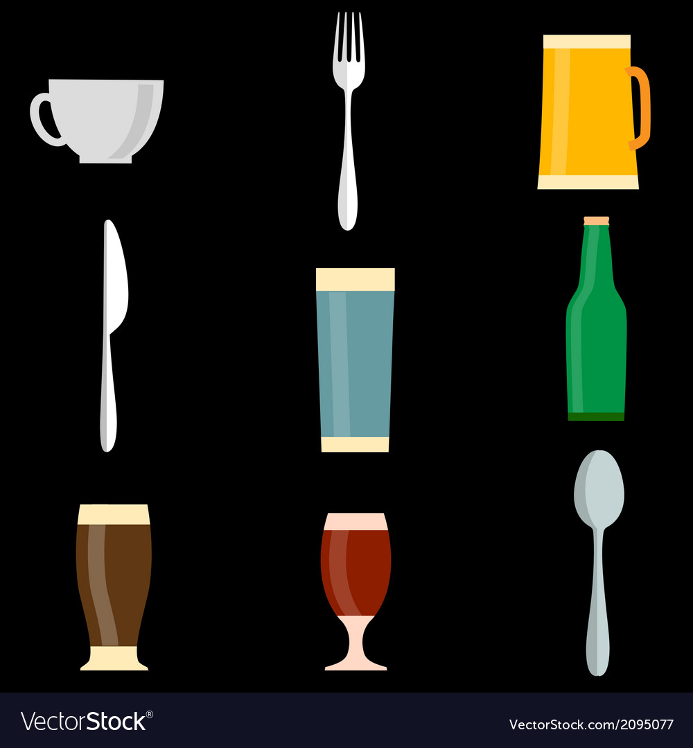 Icons of utensil objects vector | Price: 1 Credit (USD $1)