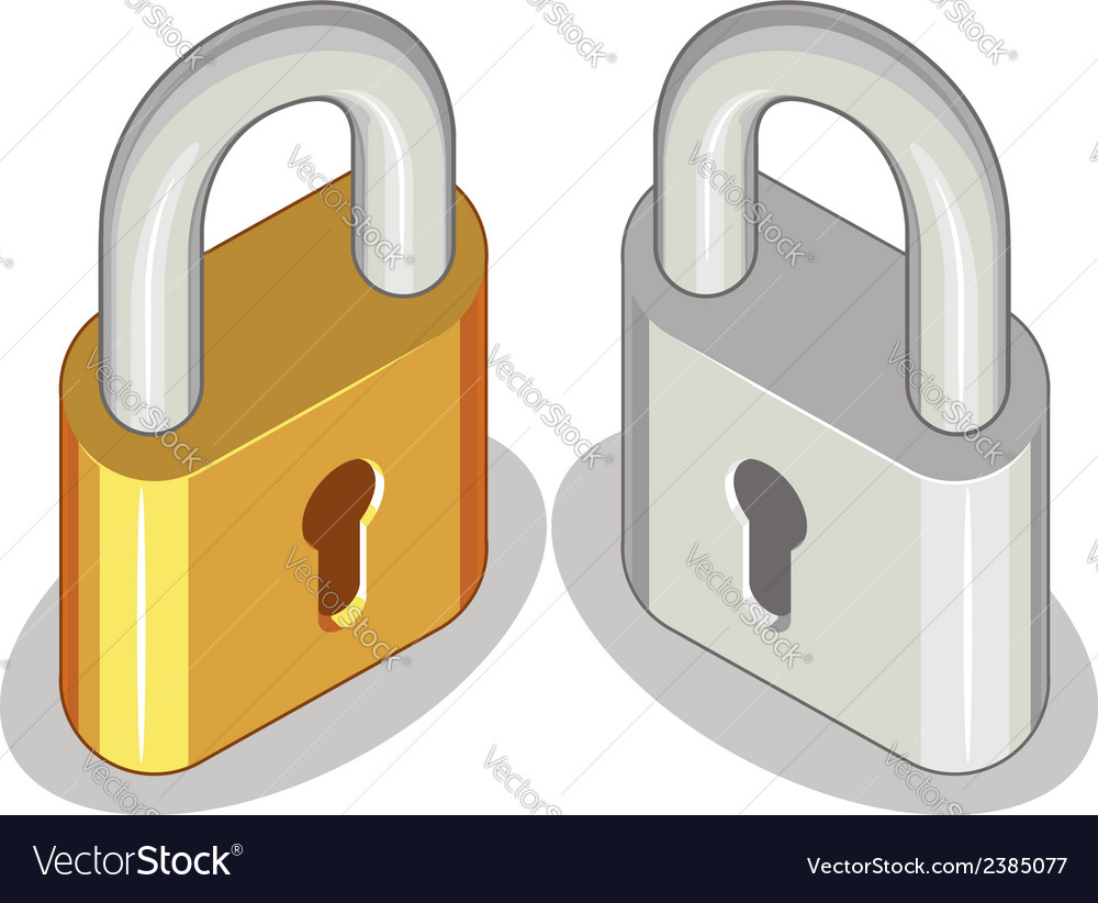 Lock or padlock brass steel vector | Price: 1 Credit (USD $1)