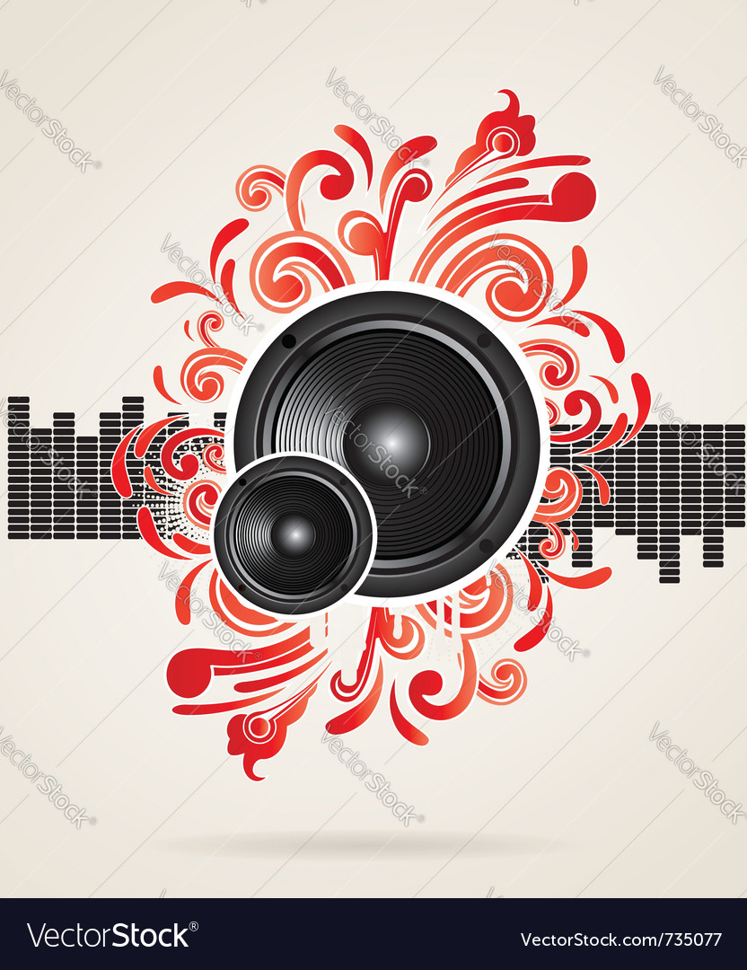Musical theme with speakers vector | Price: 1 Credit (USD $1)
