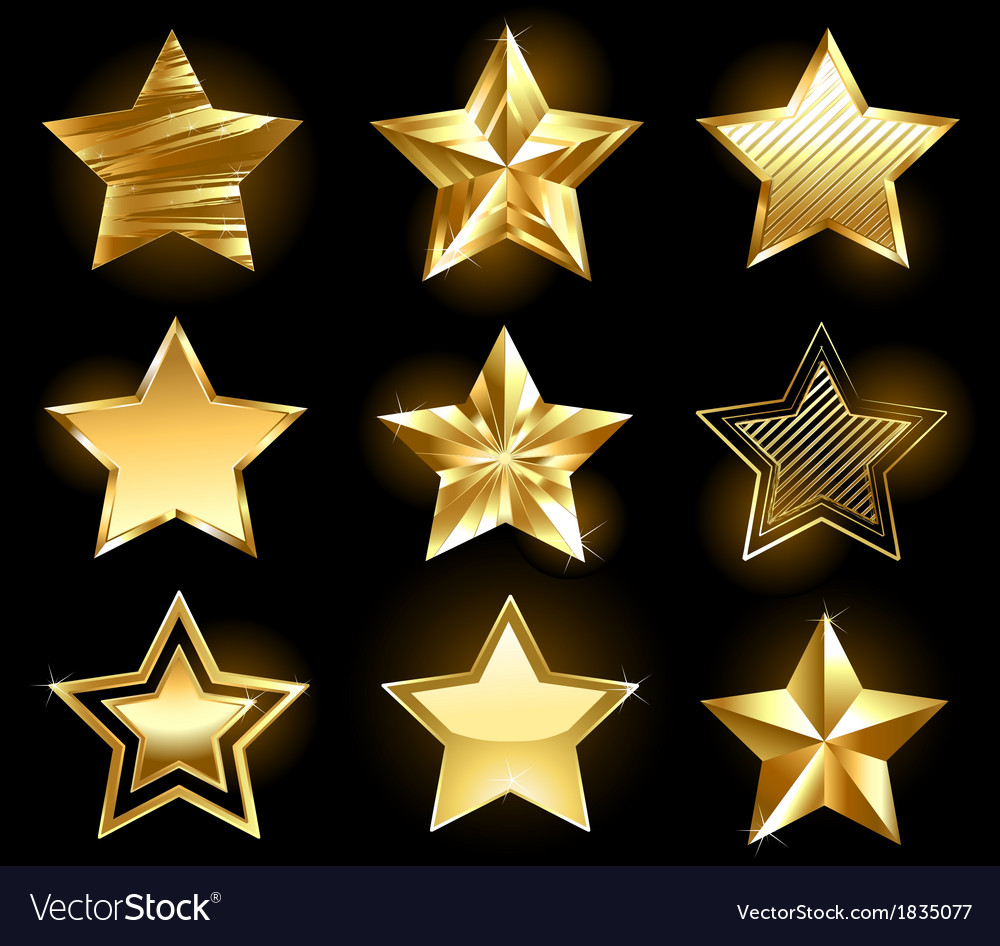 Set of gold stars vector | Price: 1 Credit (USD $1)