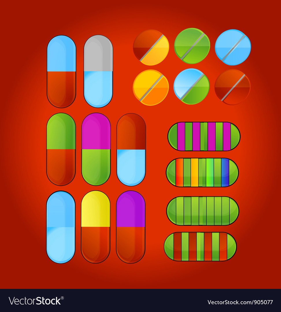 Shiny colored medic pills vector | Price: 1 Credit (USD $1)