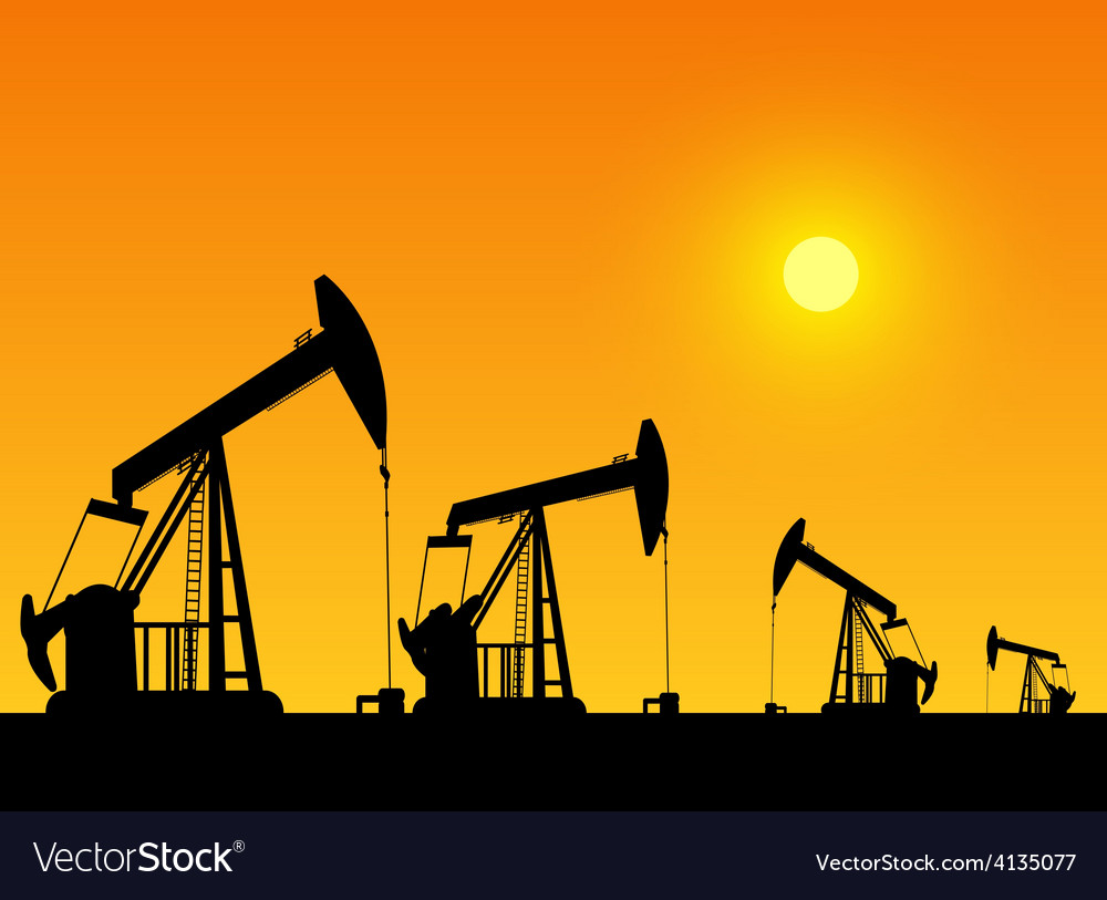 Silhouette of working oil pumps on sunset backgrou vector | Price: 1 Credit (USD $1)