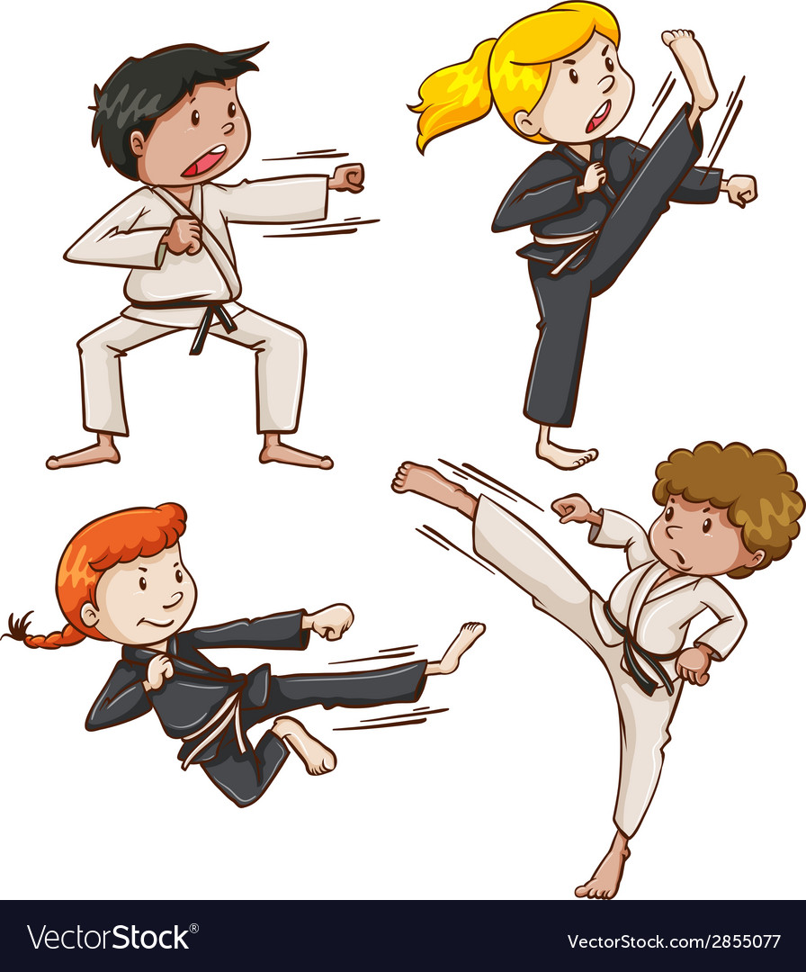 Simple sketch of people engaging in martial arts vector | Price: 1 Credit (USD $1)