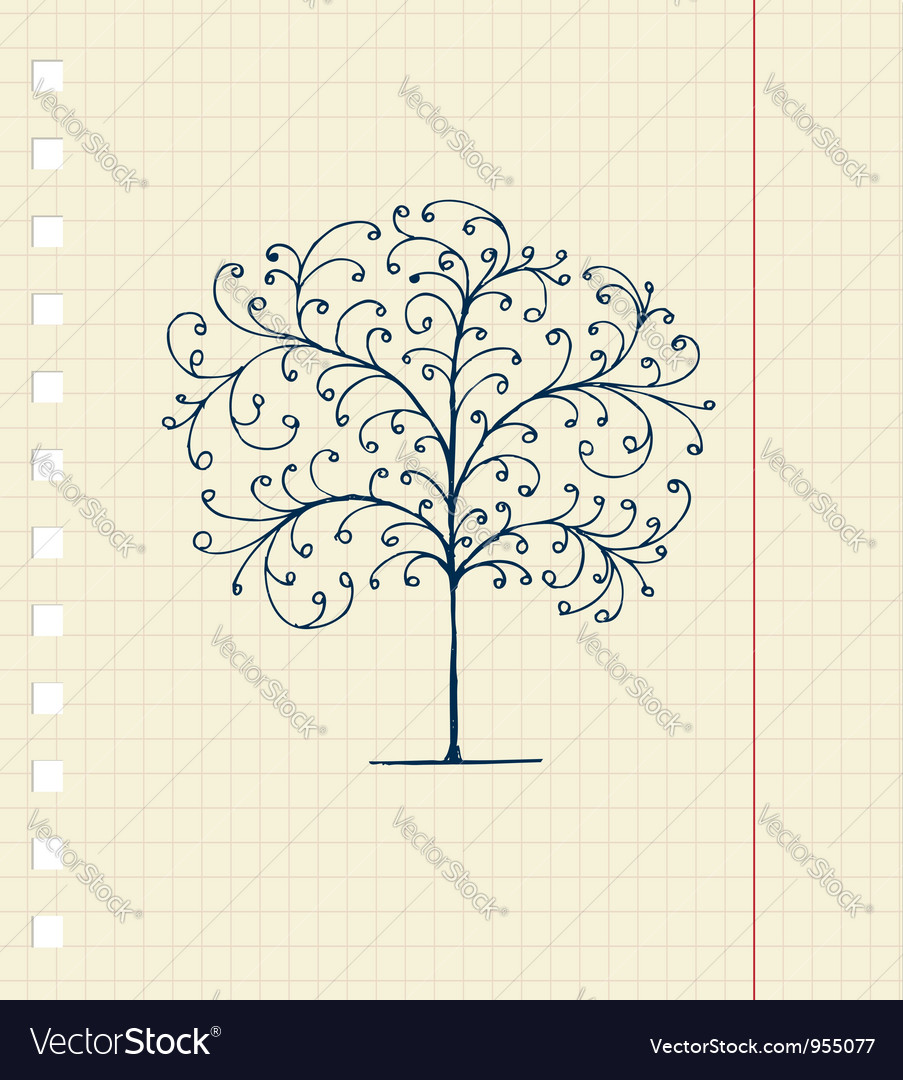 Sketch floral tree vector | Price: 1 Credit (USD $1)