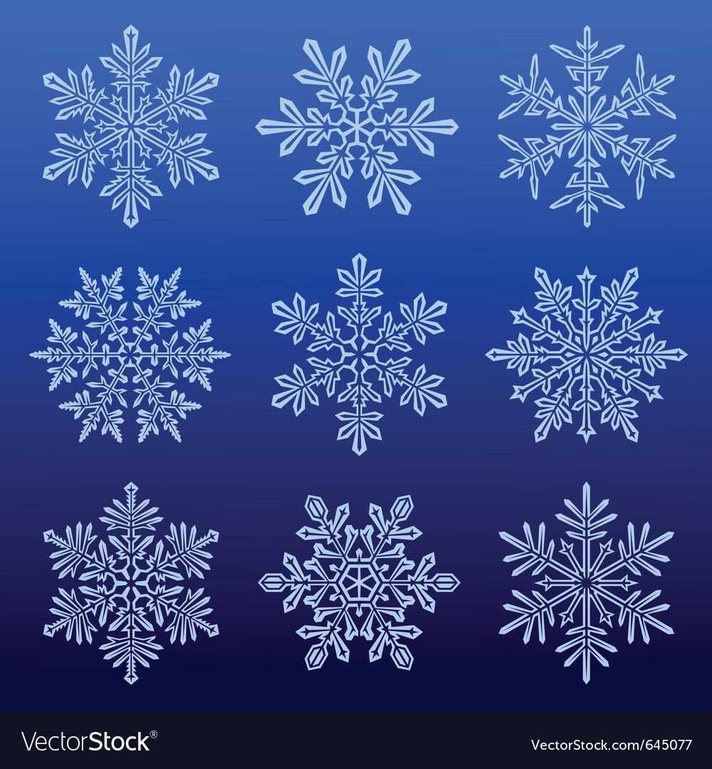 Snowflakes icon set vector | Price: 1 Credit (USD $1)