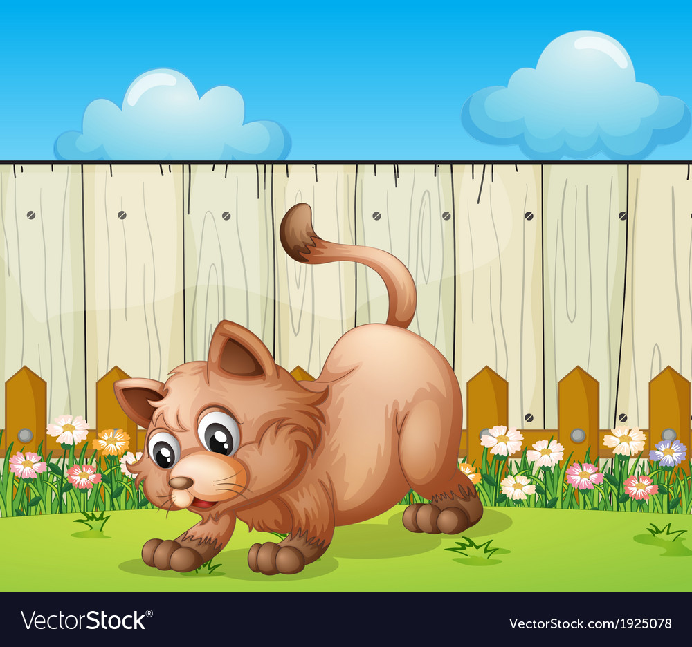 A cat playing at the backyard vector | Price: 3 Credit (USD $3)