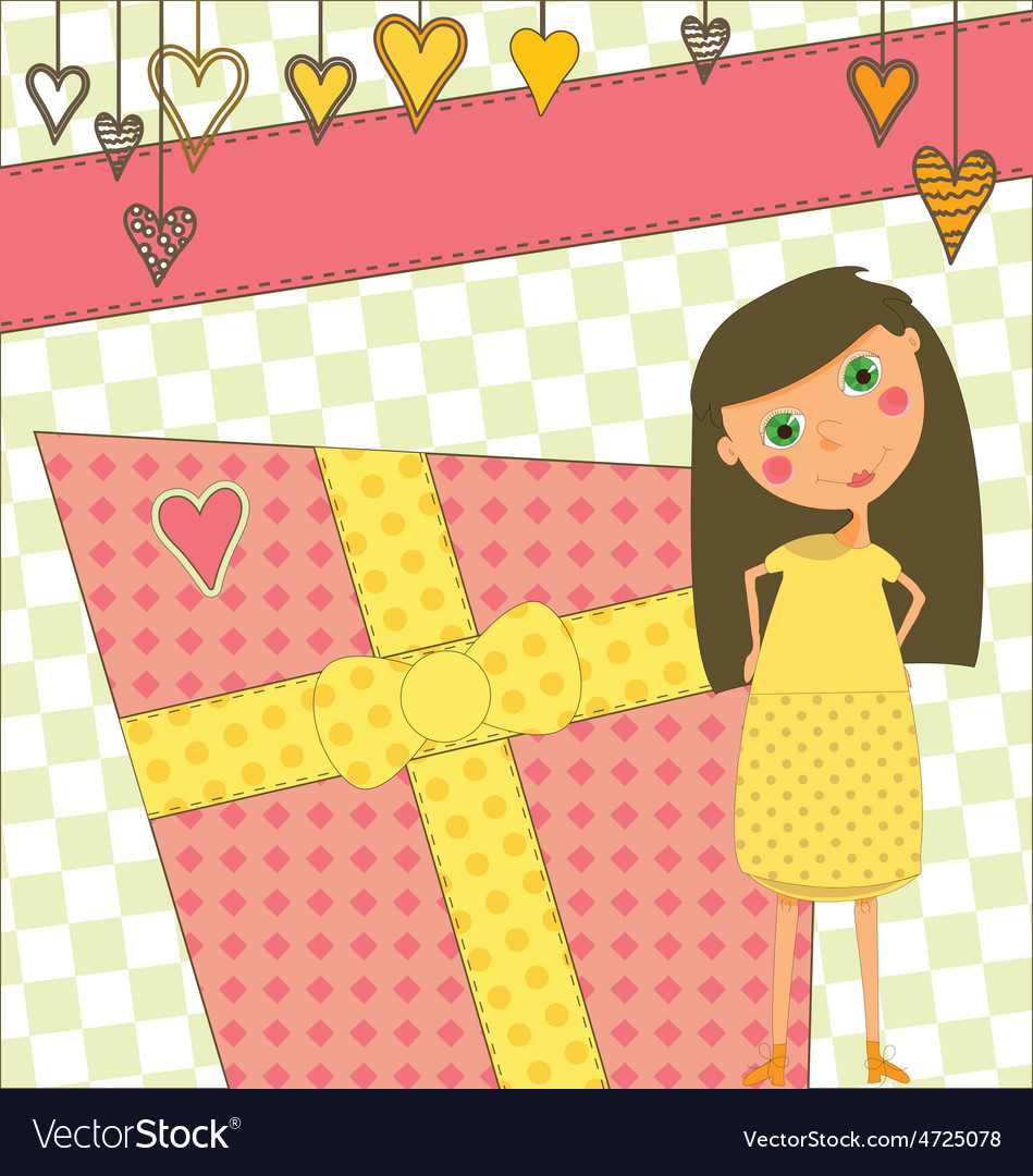 Birthday greeting with girl and gift vector | Price: 1 Credit (USD $1)