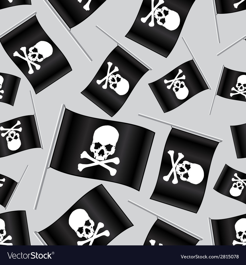 Black pirate flag with skull and bones pattern vector | Price: 1 Credit (USD $1)