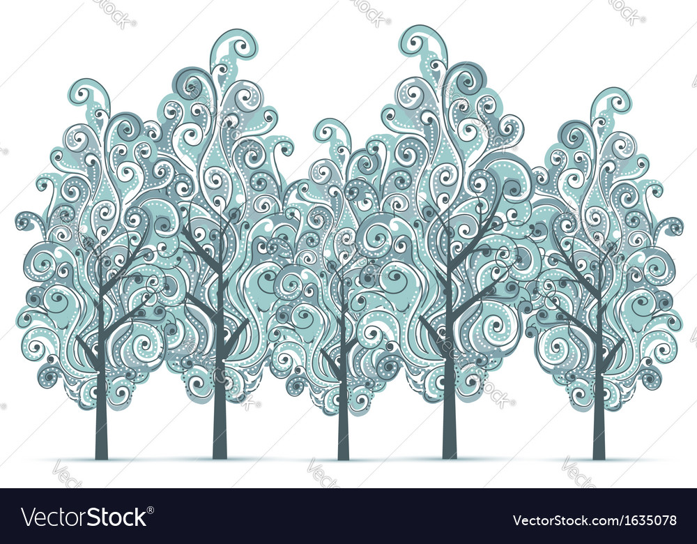 Grove with winter trees for your design vector | Price: 1 Credit (USD $1)