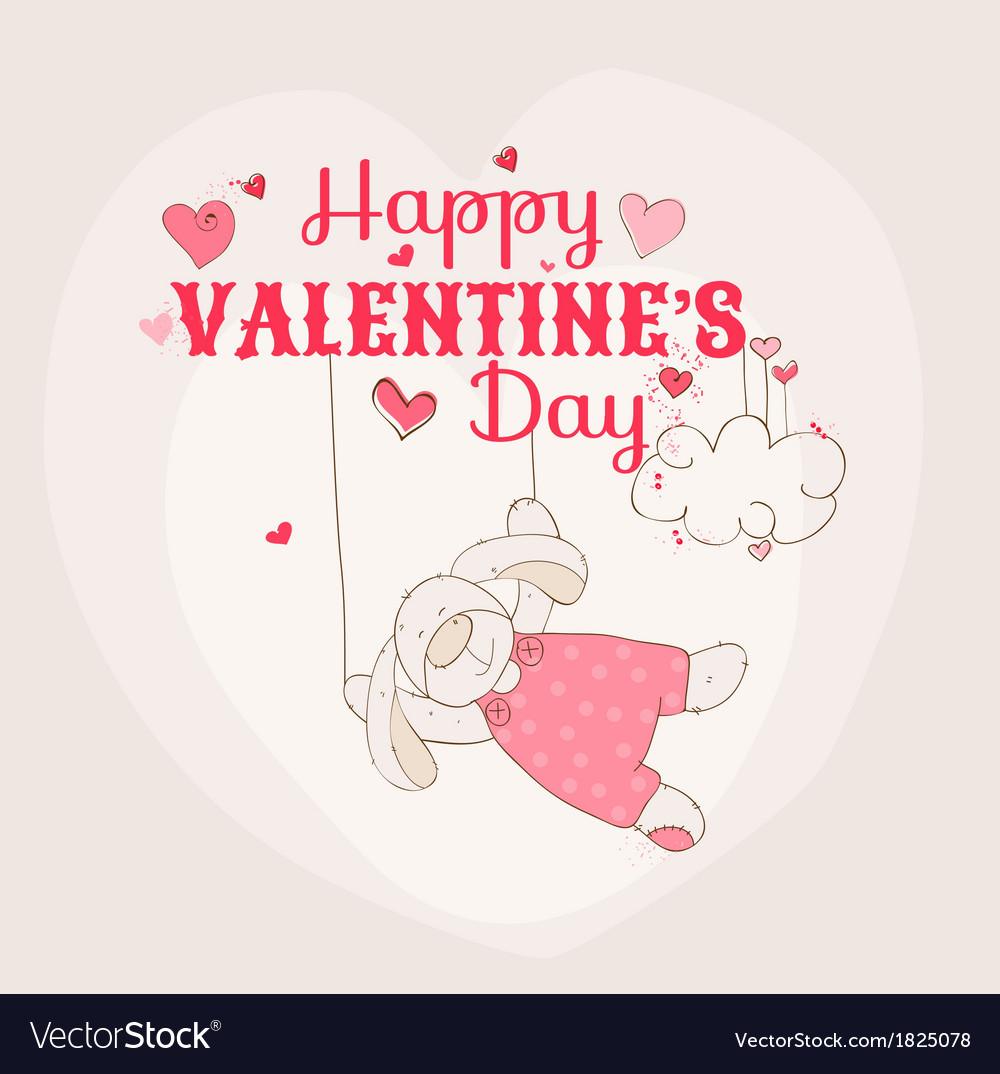 Happy valentines day card - bunny theme vector | Price: 1 Credit (USD $1)