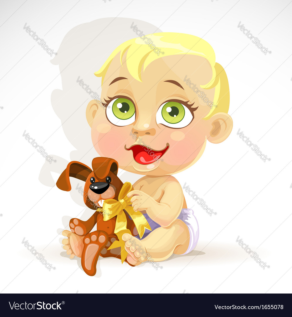 Little baby in a diaper with plush rabbit vector | Price: 3 Credit (USD $3)