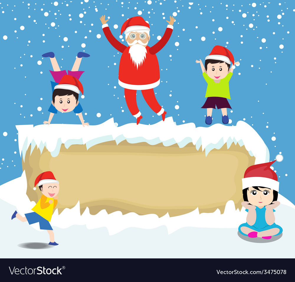 Merry christmas with santa claus and kids vector | Price: 1 Credit (USD $1)