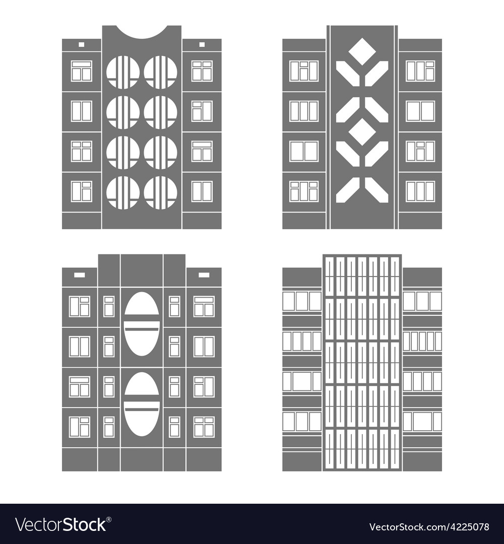 Panel houses set3 vector | Price: 1 Credit (USD $1)