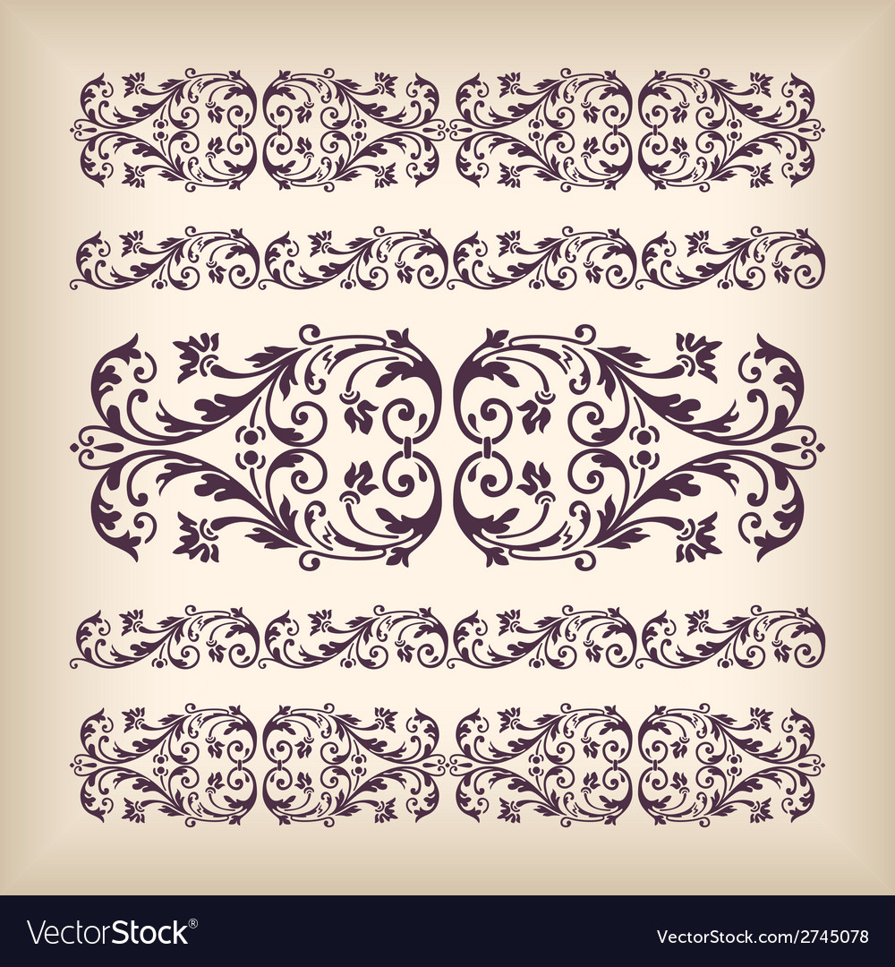 Set vintage ornate border frame with retro vector | Price: 1 Credit (USD $1)