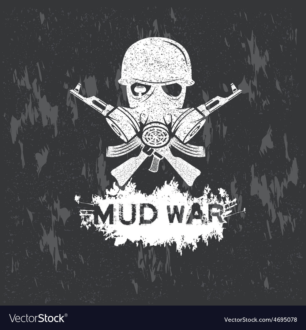 Soldier in gas mask with automatic guns on grunge vector | Price: 1 Credit (USD $1)