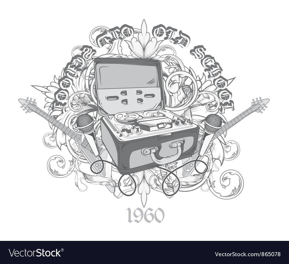 Vintage music t-shirt design vector | Price: 1 Credit (USD $1)