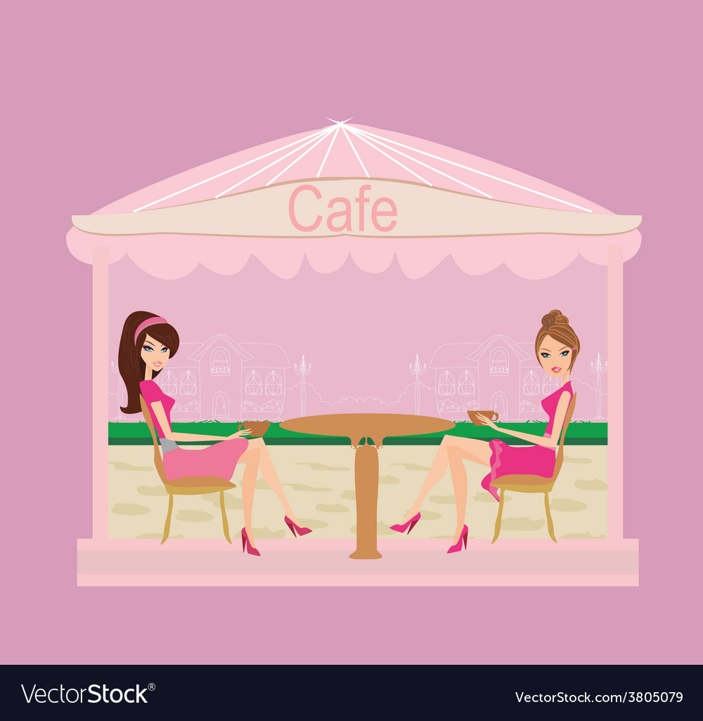 Cute pretty girls in coffee break vector | Price: 1 Credit (USD $1)