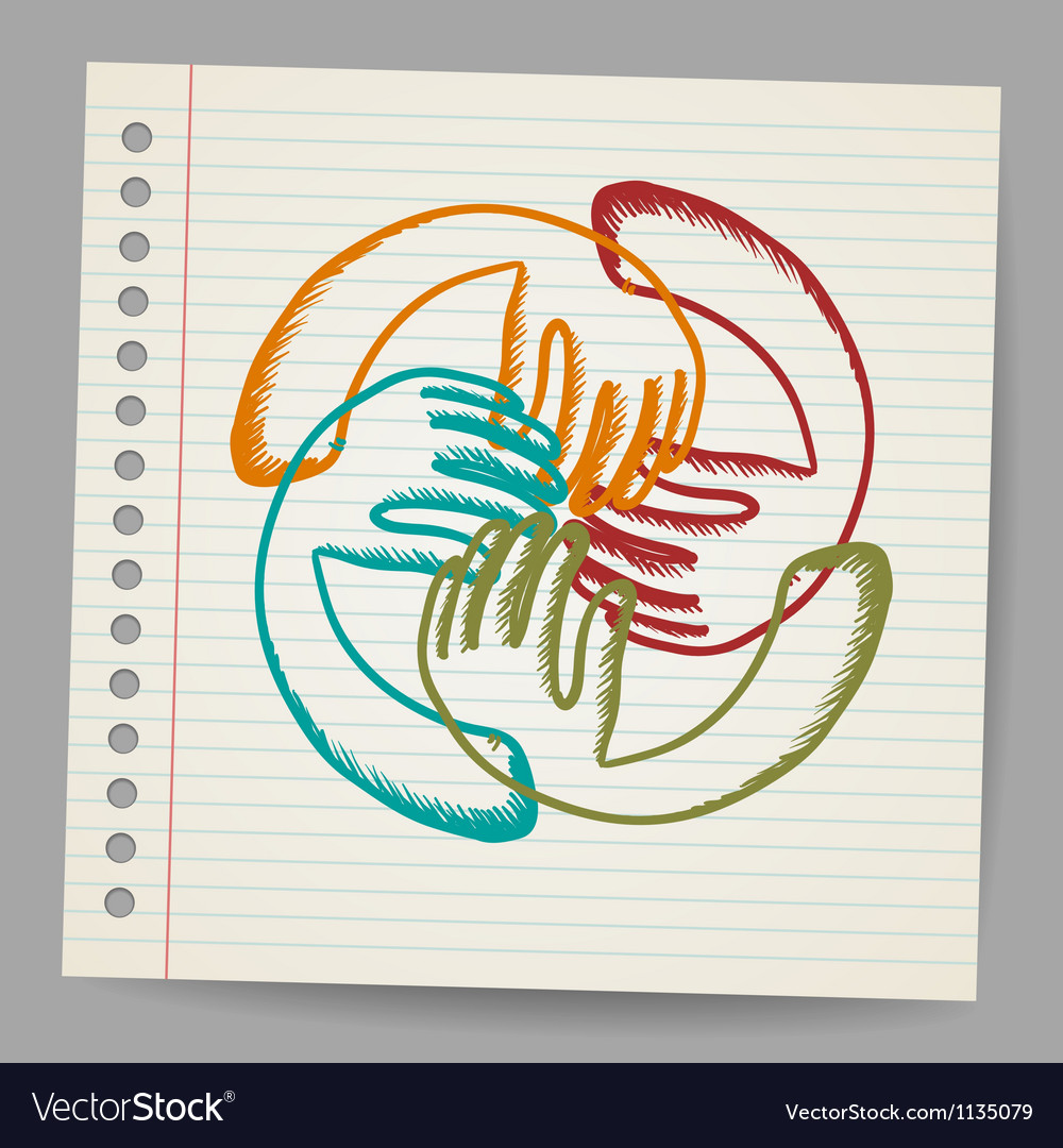Doodle teamwork hands on sheet of paper vector | Price: 1 Credit (USD $1)