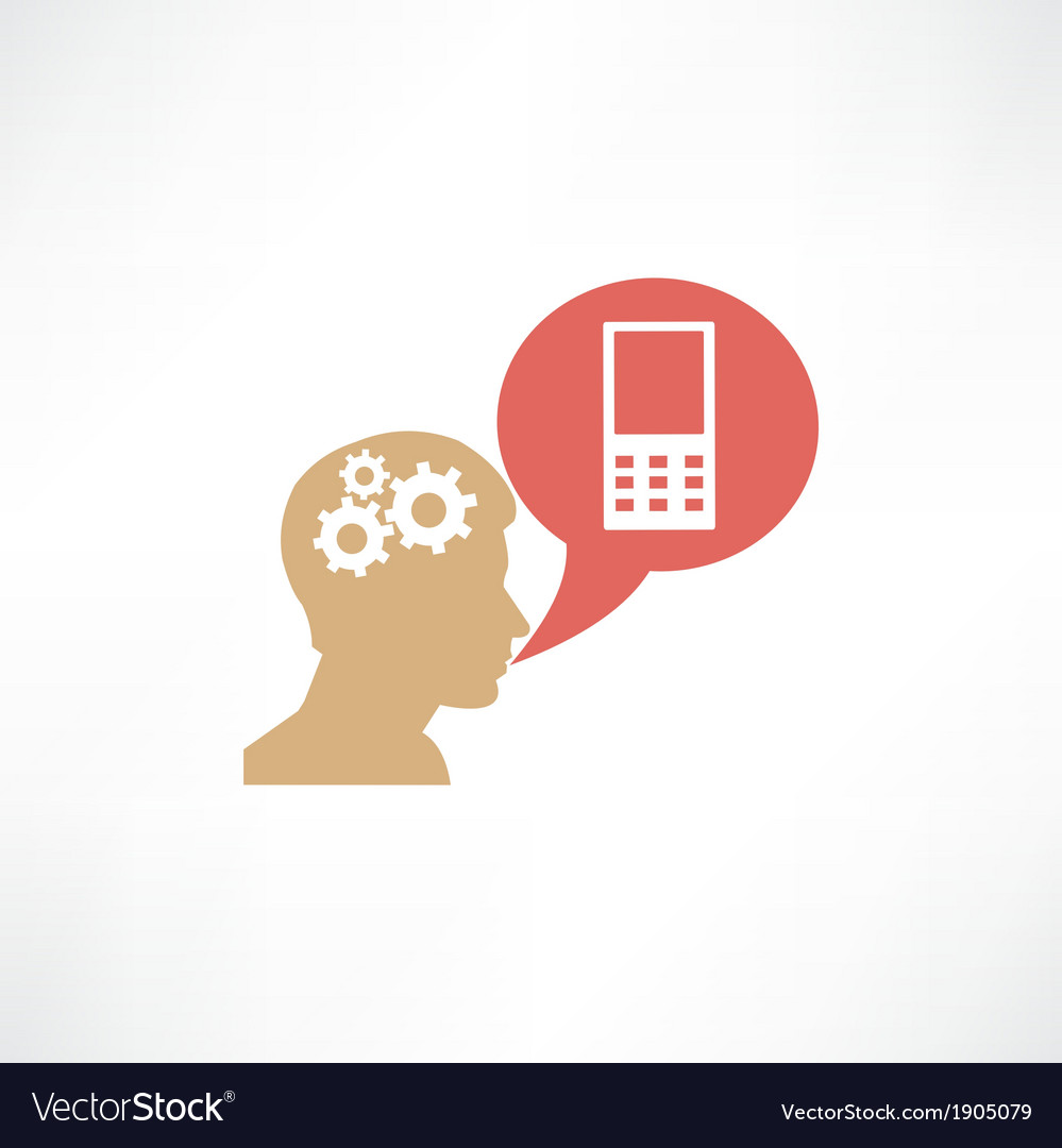 Gear head and cellphone icon vector | Price: 1 Credit (USD $1)