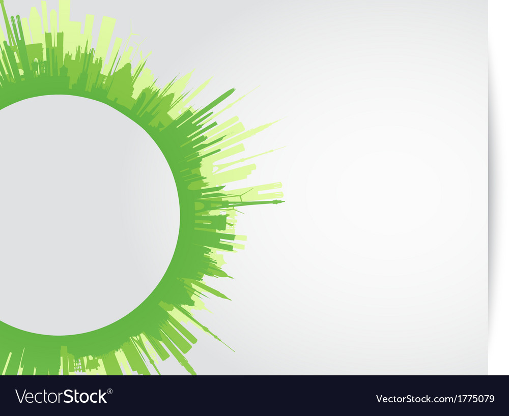 Green city skyline rounded vector | Price: 1 Credit (USD $1)