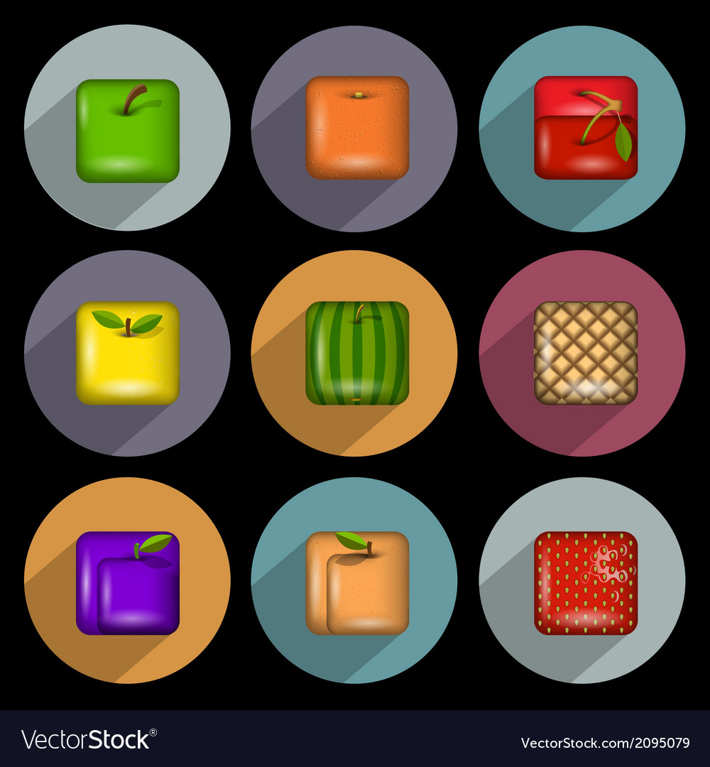 Icons of fruits with long shadow vector   Price: 1 Credit (USD $1)
