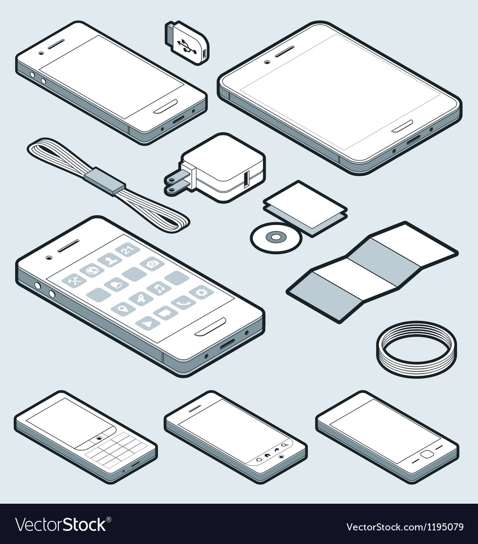Isometric mobile vector | Price: 1 Credit (USD $1)