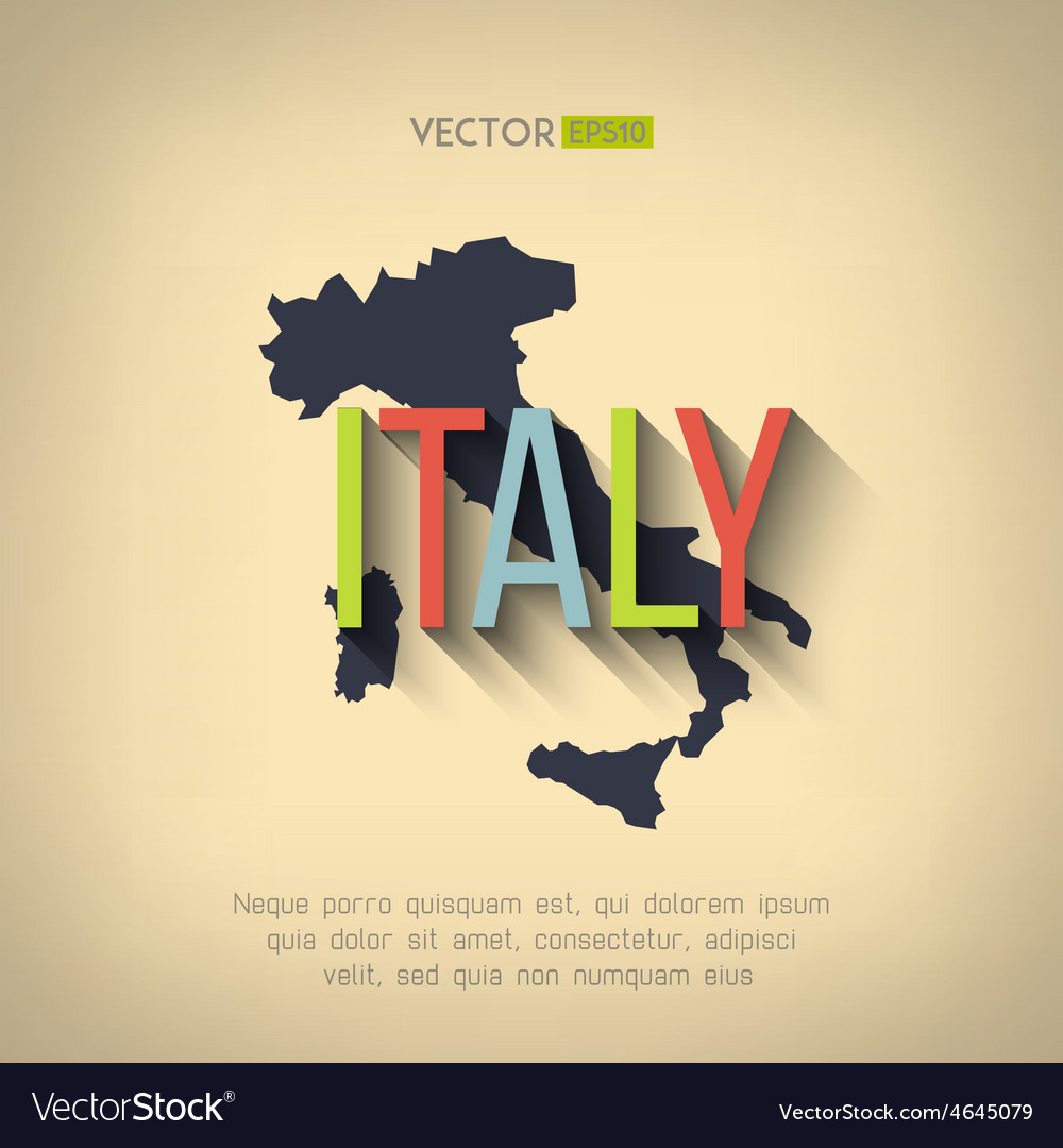 Italy map in flat design italian border vector | Price: 1 Credit (USD $1)
