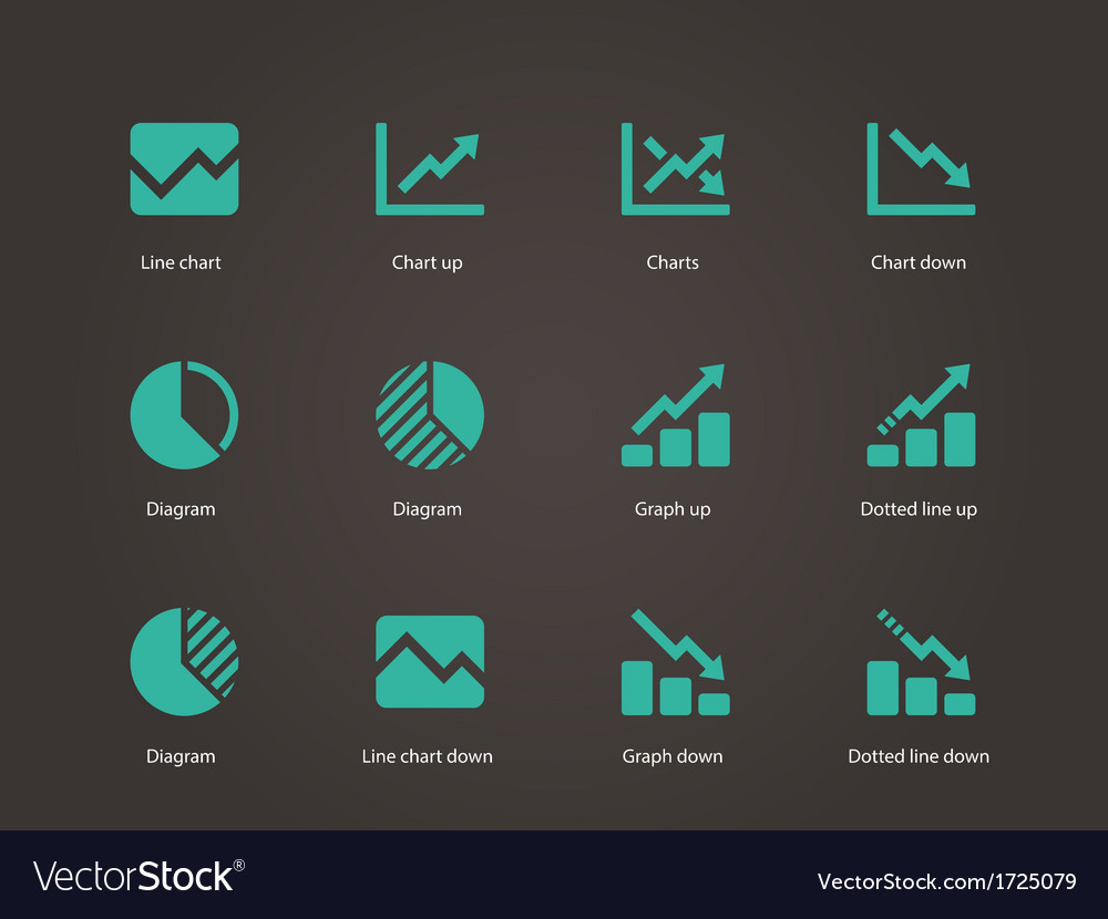 Line chart and diagram icons vector | Price: 1 Credit (USD $1)