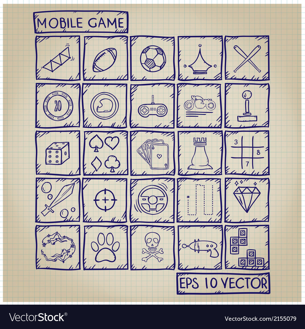 Mobile game icon doodle set vector   Price: 1 Credit (USD $1)