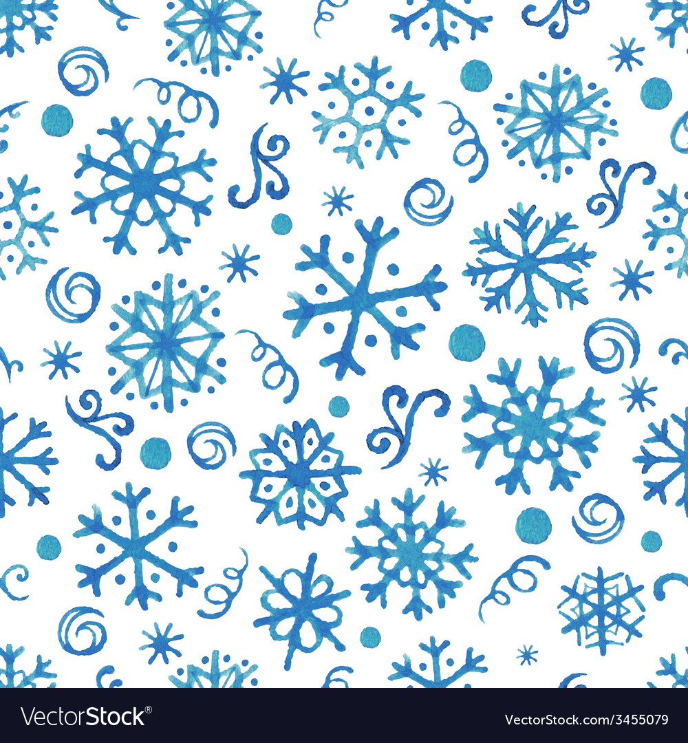 Seamless pattern with hand drawn watercolor snowfl vector | Price: 1 Credit (USD $1)