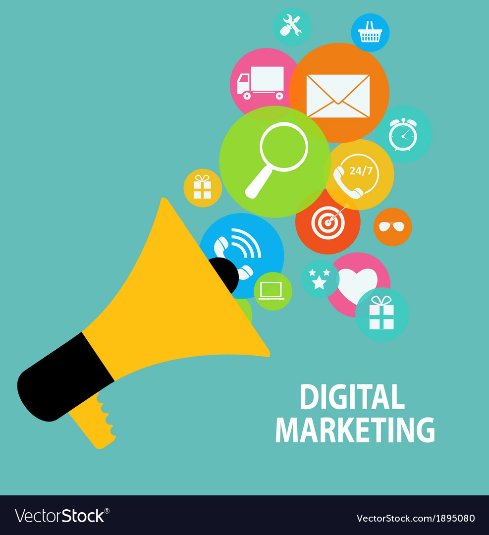 Digital marketing concept for different electronic vector | Price: 1 Credit (USD $1)