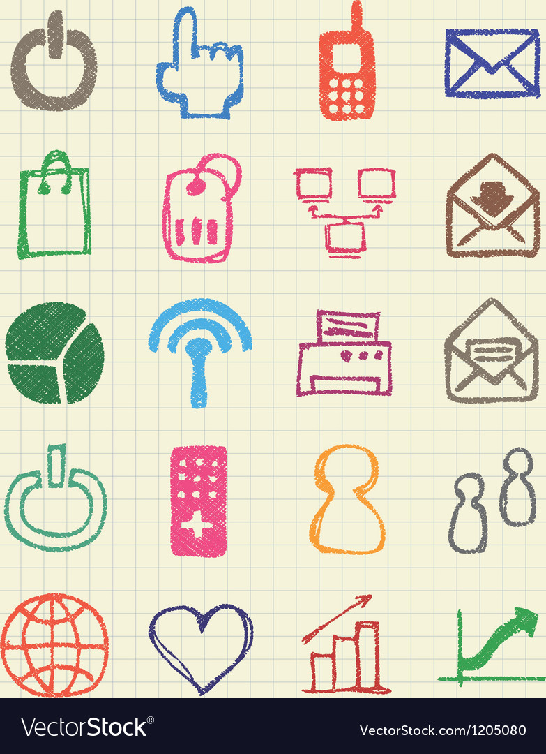 Doodle internet web icons set vector | Price: 1 Credit (USD $1)